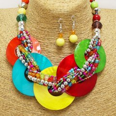 Multi Shell Disc Necklace Set-Multi