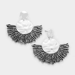 Metal Fan Earrings Silver
