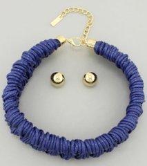 Waxed Choker Necklace Set-Royal Blue