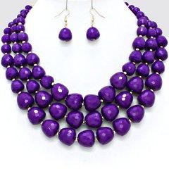 Lucite Bead Purple Necklace Set