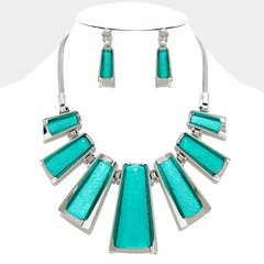 Metal Pendant Necklace Set-Turquoise