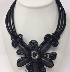 Large Flower Metal Necklace-Black