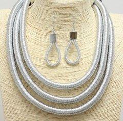 Triple Mesh Silver Necklace Set