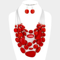 Multi Strand Red Bead Necklace Set