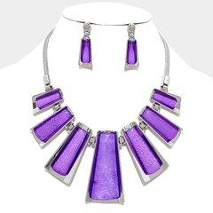 Metal Pendant Necklace Set-Purple