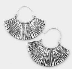 Silver Metal Fan Pierced Earrings