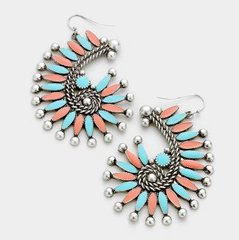 Metal Stone Silver Earrings