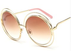 Oversized Pink/Gold Round Glasses