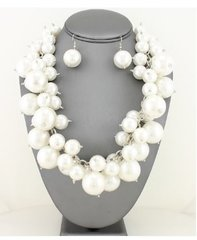 Chunky Pearl Necklace Set-White