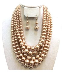 Chunky Pearl Necklace Set-BR