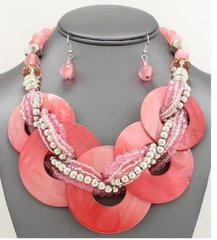 Multi Shell Disc Necklace Set-Pink