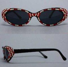 Oval Sunglasses Rhinestone-Red/White