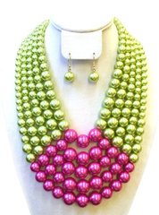Chunky Pearl Necklace Set -Pink/Green