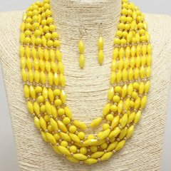 Lucite Bead Yellow Necklace Set
