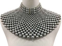 Pearl Armour Bib Choker Necklace Set-Grey
