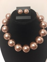 Large Pearl Necklace Set-Taupe