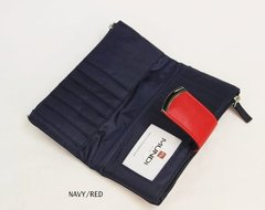 Zip Clutch Wallet Navy/Red