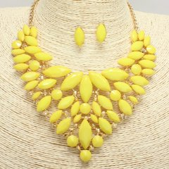 Bib Gem Stone Necklace Set-Yellow