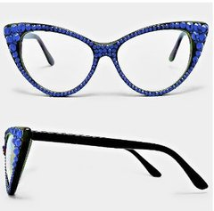 Fashion Crystal Clear Cat Eyeglasses-Sapphire
