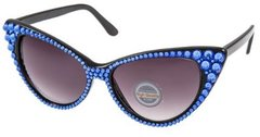 Sunglasses - Fashion Crystal Cat Sunglasses-Blue