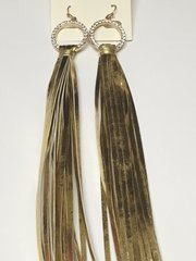 Extra Long Faux Leather Earrings-Gold