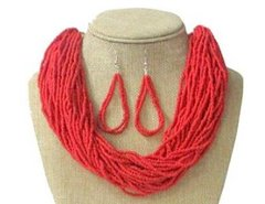 Seed Bead Necklace Set-Coral
