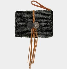 Straw Clutch Handbag-Black
