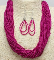Seed Bead Necklace Set-Fuschia