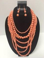 Multi Layered Bead Necklace Set-Peach