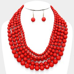 Layered Multi Bead Necklace Set-Red
