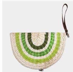Raffia Moon Straw Handbag-Green