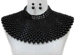 Pearl Armour Bib Choker Necklace Set-Black