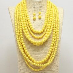 Large Multi Strand Yellow Bead Necklace Set