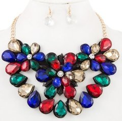 Statement Flower Stone Necklace Set-Multi