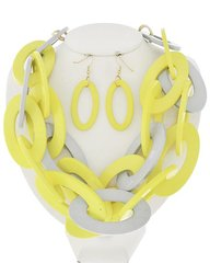 Lucite Link Necklace Set-Yellow/White