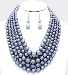 Chunky Pearl Necklace Set-New Grey