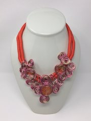 Wire Wrapped Necklace-Gold/Red/Pink