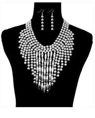 Metal Drop Necklace Set-Silver