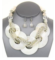 Multi Shell Disc Necklace Set-White