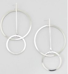 Post Large Circle Earrings-Silver