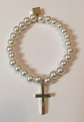 Pearl Stretch Cross Charm Bracelet-Gold