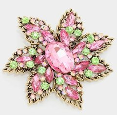 Large Pink&Green Rhinestone Flower Pin