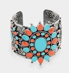 Stretch Cuff Metal Stone Bracelet