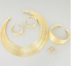 Wire Choker/Earrings/Bracelet and Ring Set-GD