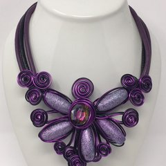 Large Flower Metal Necklace-Purple