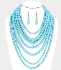 Multi Layered Bead Necklace Set-Turquoise
