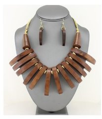 Wood Fringe Bib Necklace Set-Brown