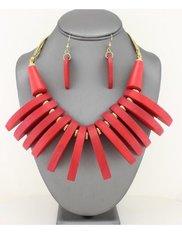 Wood Fringe Bib Necklace Set-Red