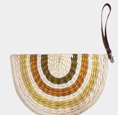 Raffia Moon Straw Handbag-Brown