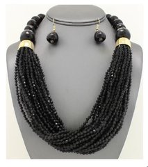 Multi-Strand Clustered Seed Bead Necklace Set-Black